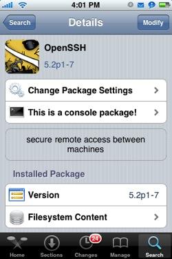 установка поддержки ssh на iphone