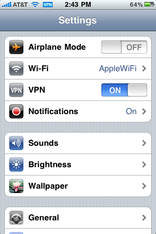 iphone vpn connection