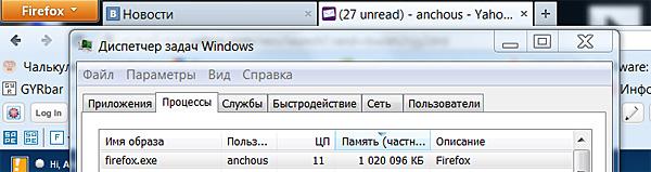 Firefox грузит оперативку