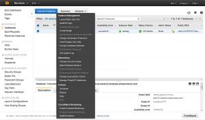 функционал веб-консоли управления хостингом Amazon