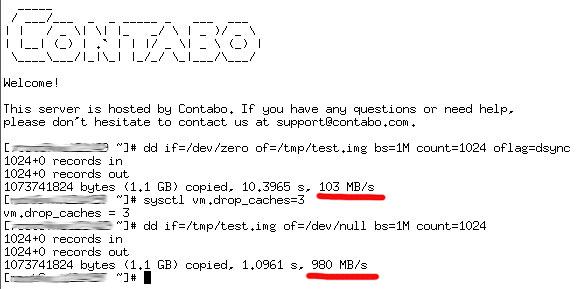 Тест SSD диска Contabo
